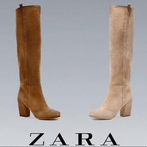 Zara Brown Leather Suede Pull-On Boots